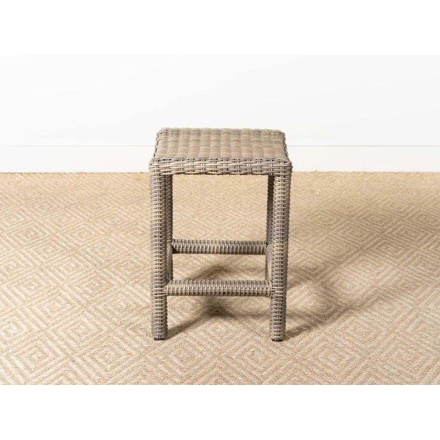 Outdoor backless counter stool Aluminum frame, woven resin Driftwood finish Slight scratches on seat pictured