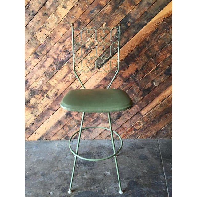 Country Salterini Painted Wrought Iron Sage Green Barstool For Sale - Image 3 of 5