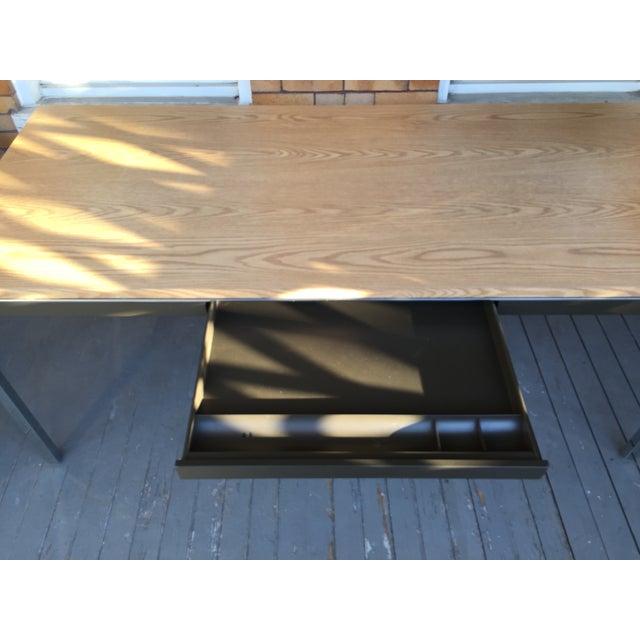 Steelcase Chrome and Oak Writing Desk - Image 3 of 11