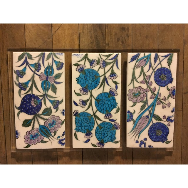 Vintage Persian Ceramic Tiles - Set of 3 - Image 2 of 6