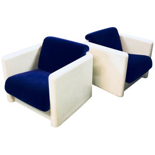 1970s Vintage White Molded Fiberglass and Velvet Cube Club Chairs- A Pair For Sale