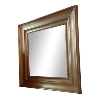 """Contemporary Gold Gilt Broad Frame Large 44"""" Square Mirror For Sale"""