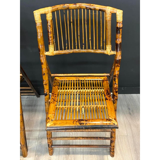 Stunning Set of 4 Vintage Mid Century Modern Tortoise Bamboo Folding Chairs For Sale - Image 4 of 8
