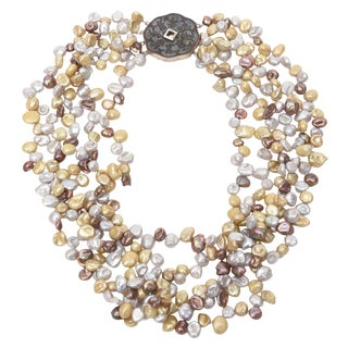 Cultured Freshwater Pearl and Sterling Silver Multi Strand Necklace For Sale