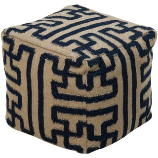 Hand Knotted Pouf For Sale