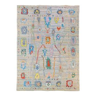 Modern Tulu Handmade Multicolor Geometric Designed Wool Rug For Sale