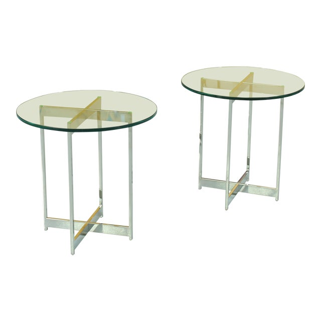 1960s Mid Century Modern Chrome And Glass Side Tables A Pair