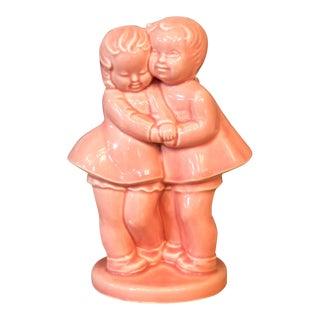Vintage Pink Children Couple Hug Pottery Vase