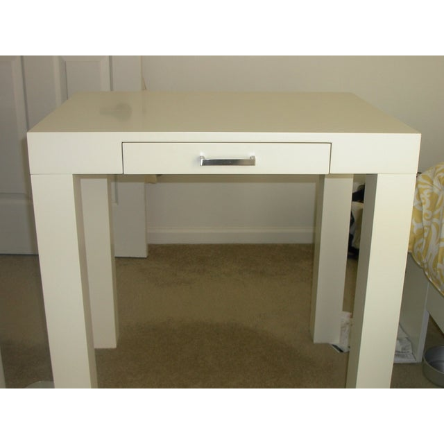 Off-White Pottery Barn Parson Desk - Image 4 of 4