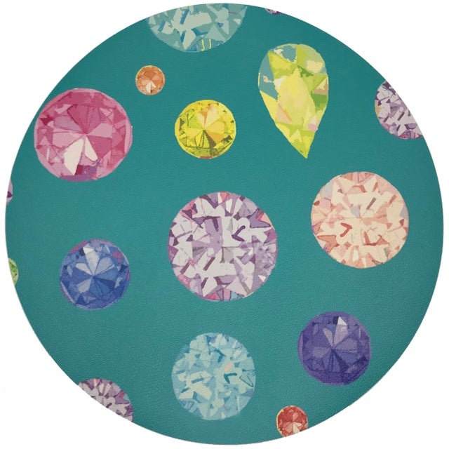 "Contemporary Nicolette Mayer Jewel Cyan 16"" Round Pebble Placemats, Set of 4 For Sale - Image 3 of 3"