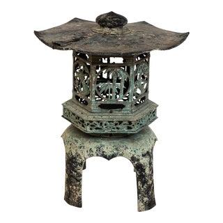 Cast Iron Garden Pagoda Candleholder For Sale