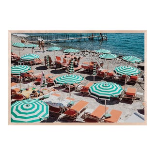Portofino Sunbathing by Natalie Obradovich in Natural Maple Framed Paper, Medium Art Print For Sale