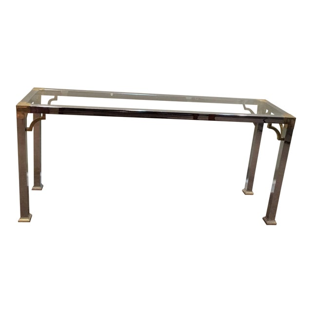 Mastercraft Chrome and Brass Console Table For Sale