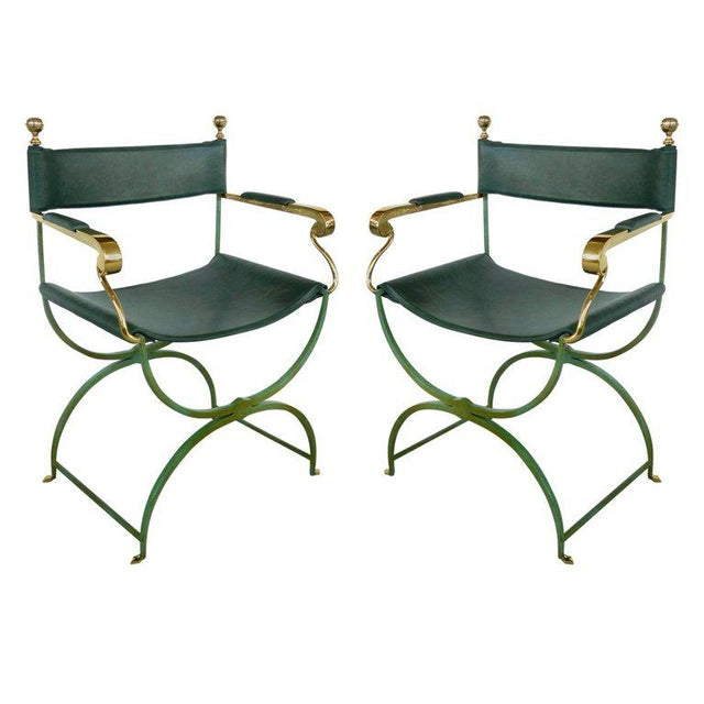 Pair of Brass Director's Chairs by Valenti, Spain For Sale - Image 11 of 11