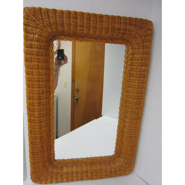 Vintage Lacquer Wicker Rattan Wall Mirror - Image 4 of 11