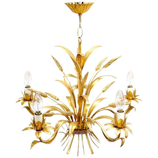 Gold Gilt Metal Cattail Sheaf Light Fixture Chandelier For Sale