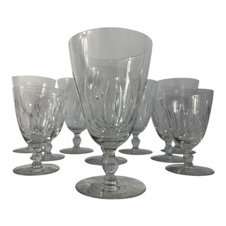 Mid 20th Century Seneca Glass Flame Pattern Stemware - Set of 10 For Sale