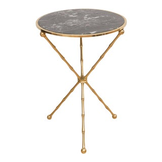 Italian Marble & Brass Side Table For Sale