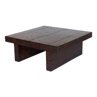 Contemporary Walnut Wood Coffee Table For Sale