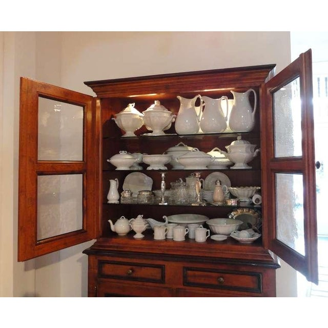 Fantastic 19thc Two Piece Walnut Stepback Wall Cupboard For Sale - Image 4 of 9