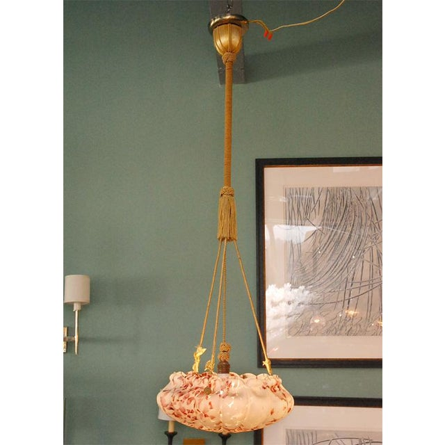 Early 20th Century European Glass Bowl Pendant Fixture For Sale - Image 5 of 9