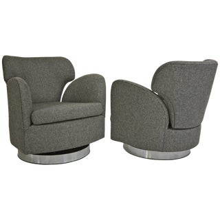 Pair of Swivel Milo Baughman Club Chairs For Sale