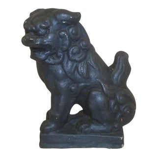 Concrete Black Foo Dog Garden Statue For Sale