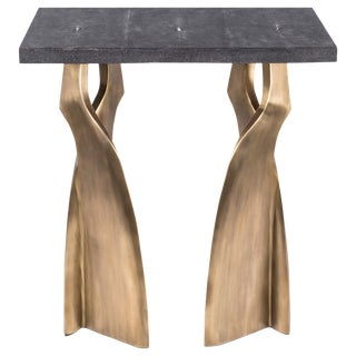 Chital Side Table in Black Shagreen and Bronze-Patina Brass by Kifu Paris For Sale
