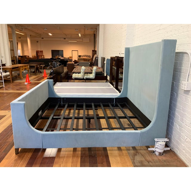 2010s California King Restoration Hardware Grayson Fabric Bed + Footboard For Sale - Image 5 of 12