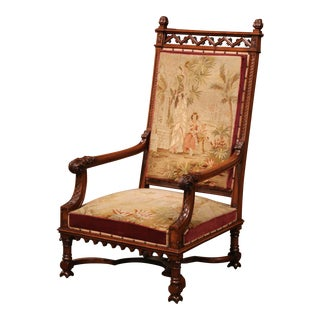 19th Century French Louis XIII Carved Walnut and Needlepoint Tapestry Armchair For Sale