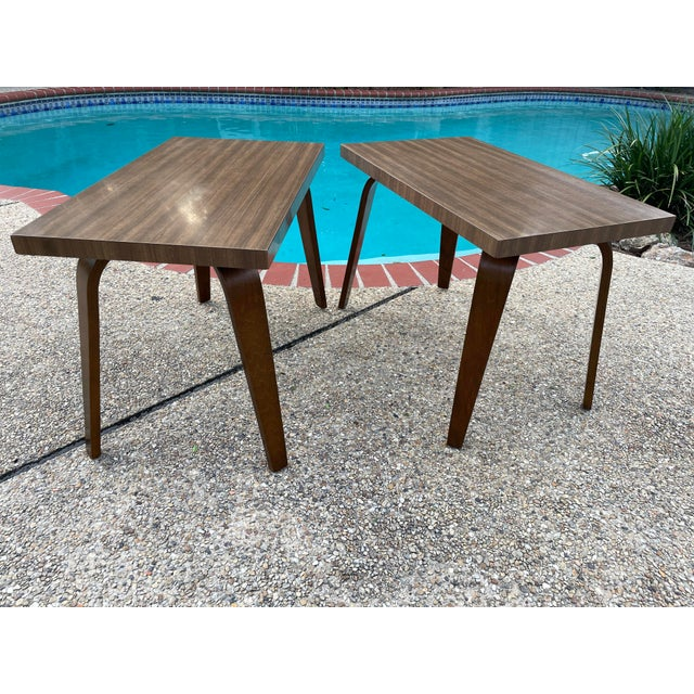 Thonet Mid Century Walnut End Tables - a Pair For Sale - Image 11 of 11