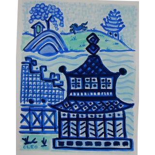 Chinoiserie Landscape and Buildings Painting by Cleo For Sale