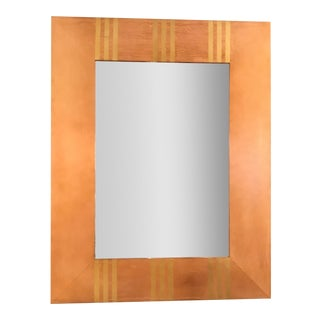 Modern Copper Rectangular Beveled Wall Mirror For Sale
