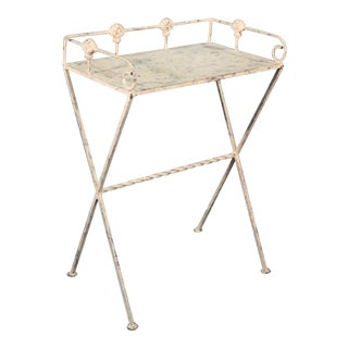 White Distressed Painted French MCM Plant Stand Serving Table Butler, Circa 1950 For Sale