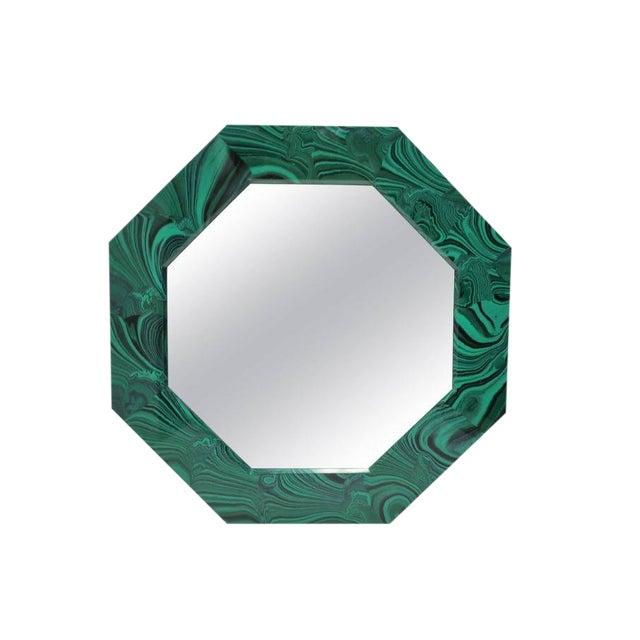 Green Malachite Octagonol Wall Mirror For Sale