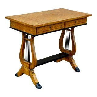 Swedish Biedermeier Revival Writing Table in Golden Flame Birch For Sale