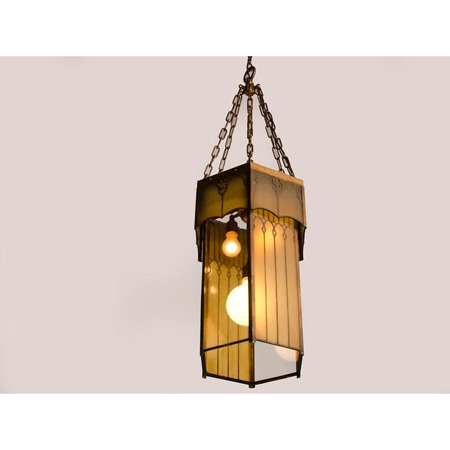Arts & Crafts Edwardian English Arts and Crafts Period Tall & Slender Hexagonal Metal Frame & Glass Lantern For Sale - Image 3 of 9
