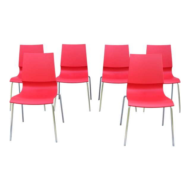 Italian Modern Marco Maran for Maxdesign Red Ricciolina Dining Chairs - Set of 6 For Sale