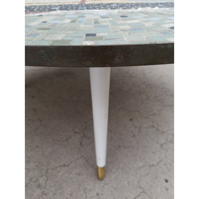 Exceptional Mosaic Tile Coffee Table With Sail Boat For Sale - Image 10 of 13