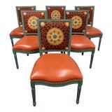 Image of Palecek Lyon Square Back Orange Medallion Chairs- Set of 6 For Sale