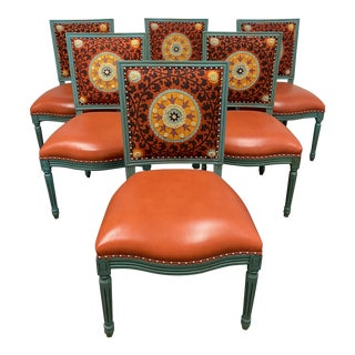 Palecek Lyon Square Back Orange Medallion Chairs- Set of 6 For Sale