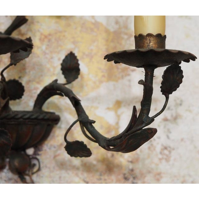 Late 19th Century Pair of Antique Italian Iron Wall Sconces For Sale - Image 5 of 6