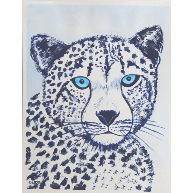 Cleo Plowden Lion in Blue Painting by Cleo Plowden For Sale - Image 4 of 6