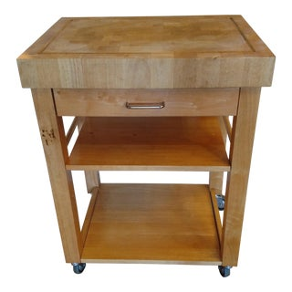 French Country Butcher Block Top Kitchen Portable Island