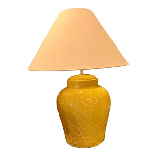 Restored, Large Ceramic Yellow Glazed Ginger Jar Table Lamp, W/ Branch Pattern For Sale