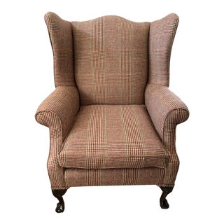 Antique Wingback Reading Chair With New Ralph Lauren Wool Upholstery For Sale