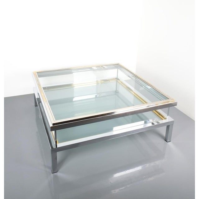 Brass Refurbished Large Maison Jansen Brass and Chrome Vitrine Coffee Table, 1970 For Sale - Image 7 of 12