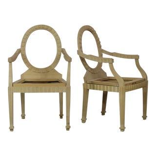 Donghia Style Hollywood Regency Arm Chair Frames - A Pair For Sale