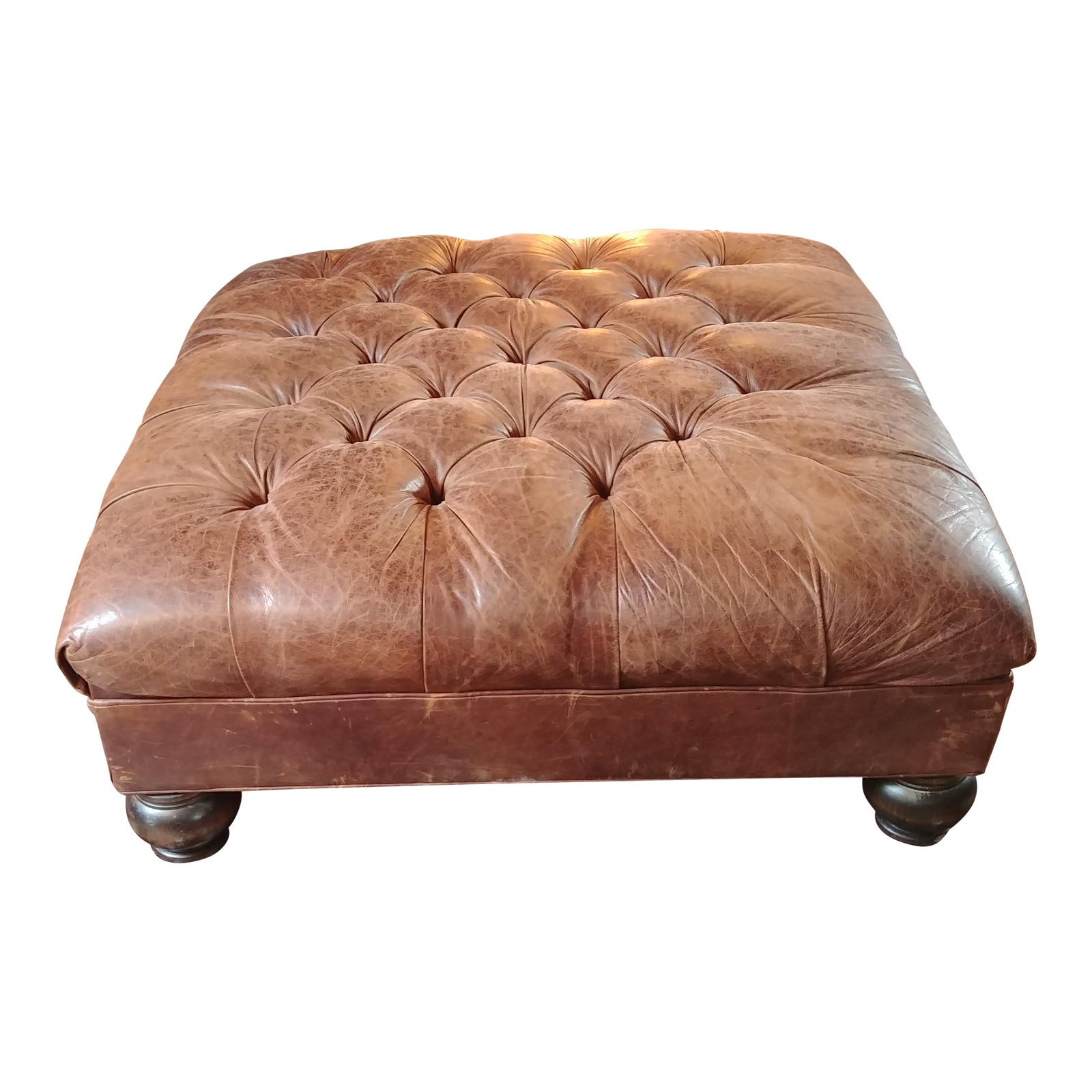 Mitchell Gold For Restoration Hardware Leather Ottoman