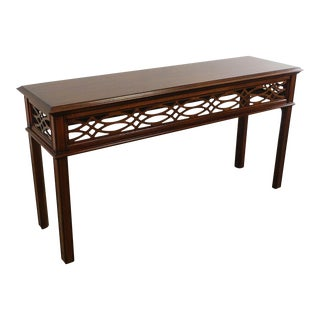 Henkel Harris Mahogany Chippendale Style Console Table For Sale